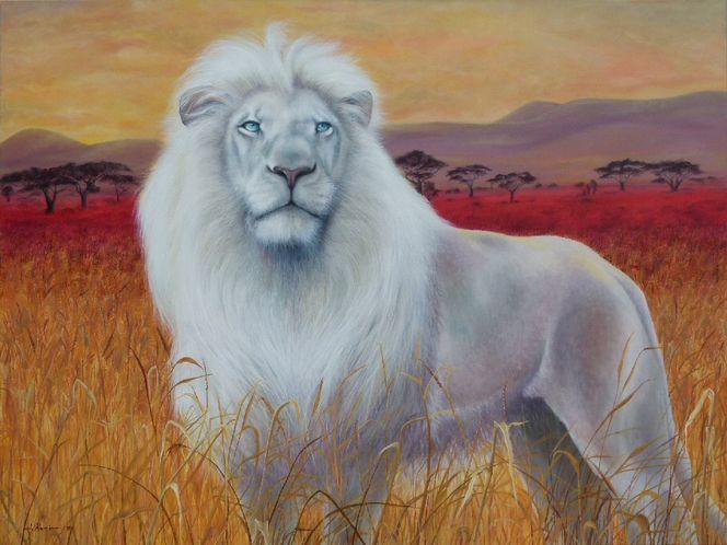 Löwe, Steppe, Savanne, Weiß, Afrika, Malerei