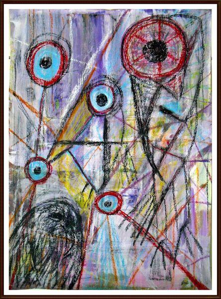 Abstrakt, Schwarz, Düster, Modern, Mischtechnik, Pastellmalerei