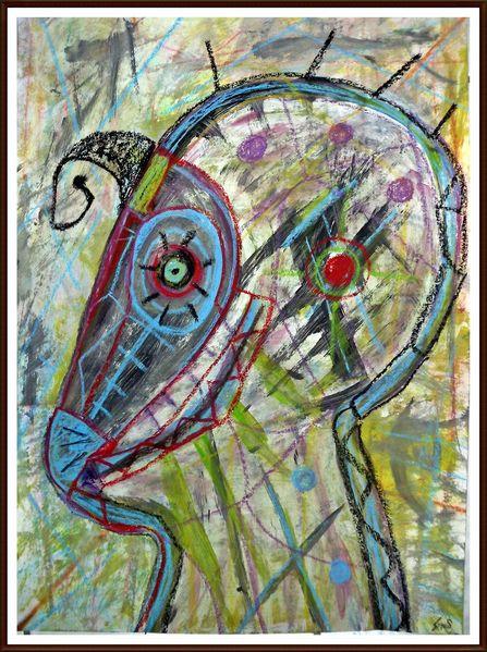 Archaich, Malerei, Pastellmalerei, Mischtechnik, Bunt, Profil