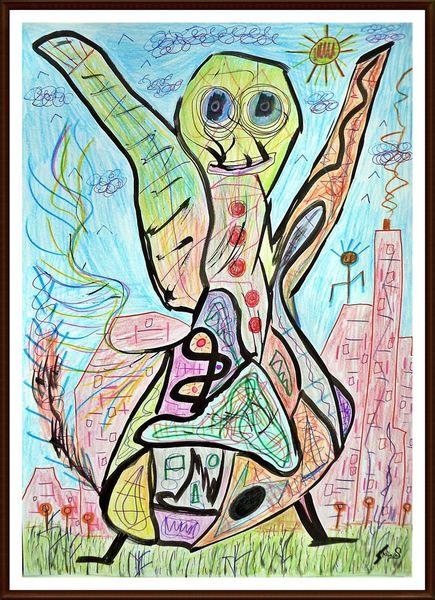 Buntstiftzeichnung, Kinderzeichnung, Farben, Kindisch, Bunt, Malerei