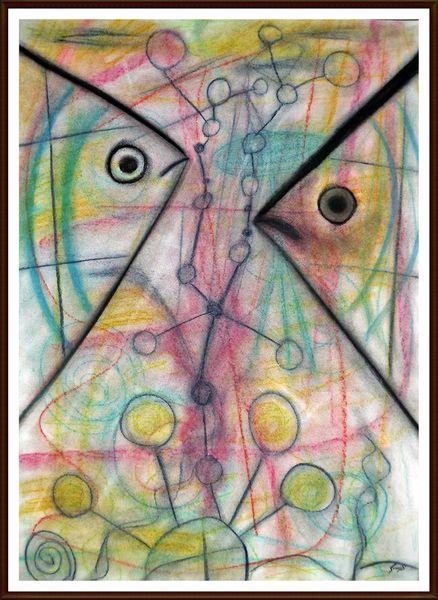 Bunt, Malerei, Fische, Modern, Pastellmalerei, Farben