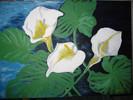 Bau, Weiß, Blumen, Acrylmalerei
