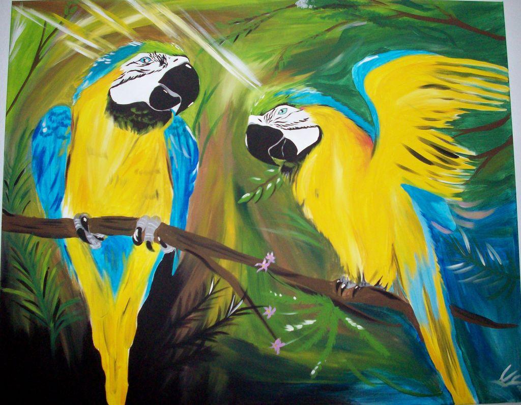 Blaue Aras - Papagei, Blau, Acrylmalerei, Gelb von Zione bei KunstNet