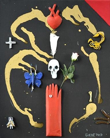 Rose, Gold, Schmetterling, Schwarz, Handschuhe, Skorpion