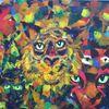 Acrylmalerei, Spachtel, Licht und düsternis, Tiger