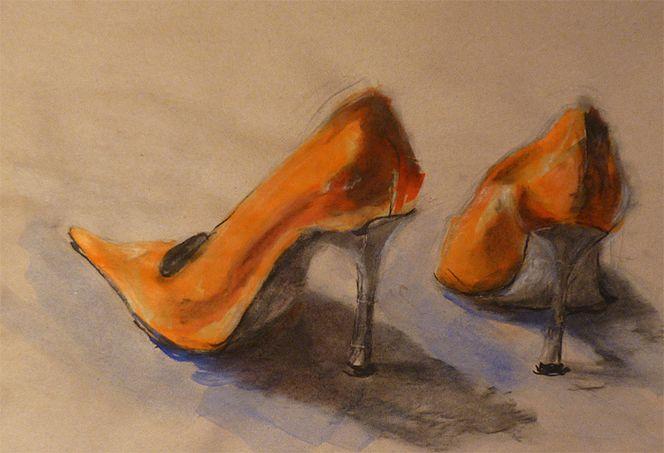 Schuhe, High heels, Mädchen, Damenschuhe, Orange, Frau
