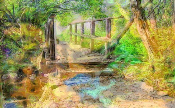 Digital, Brücke, Fotopainting, Farbfantasied, Landschaft, Digitale kunst