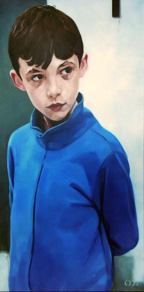Kind, Junge, Portrait, Malerei