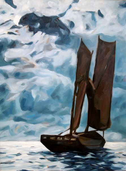 Boot, Wolken, Licht, Impressionismus, Schiff, Abend