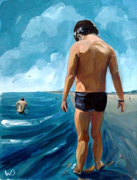 Bein, Rücken, Strand, Sommer, Wasser, Baden