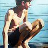 Dünn, Wasser, Junge, Malerei