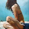 Mädchen, Dünn, Licht, Malerei