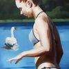Schwan, Mädchen, See, Malerei