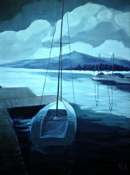 Spiegelung, Wasser, See, Welle, Boot, Segel