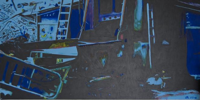 Abstrakt, Blau, Schrott, Malerei, Surreal