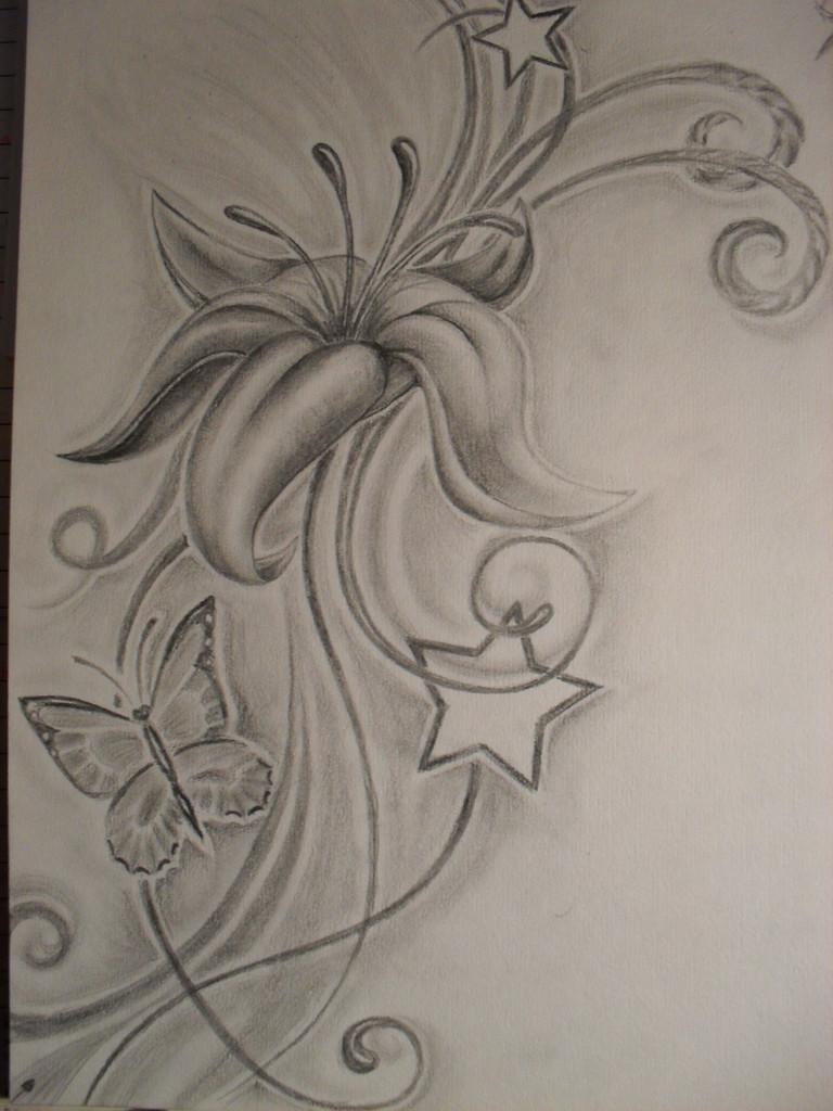 Kunstnet / Werke / Zeichnungen / Pflanzen / Tattoovorlage