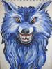 Blauer Wolf - acryl blau fantasie tier wolf
