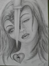 Herz, Trauer, Menschen, Frau, Messer, Portrait