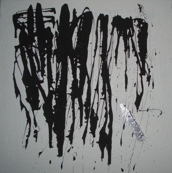Silber, Abstrakt, Schwarzweiß, Malerei