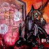 Schützling - abstrakt bett einhorn krank pferd pink raum rosa schwarz surreal öl