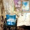 weggegangen-platz-vergangen - abstrakt draht gips holzrahmen lichtquelle papier stoff stuhl öl