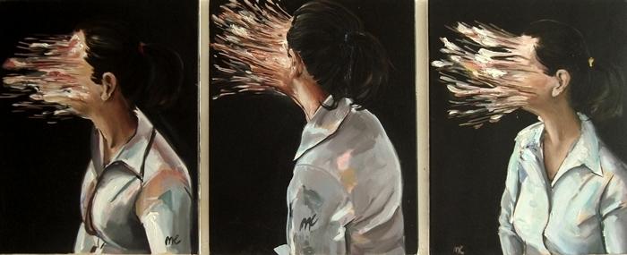 Gesichtslos, Triptychon, Portrait, Frau, Malerei, Sog