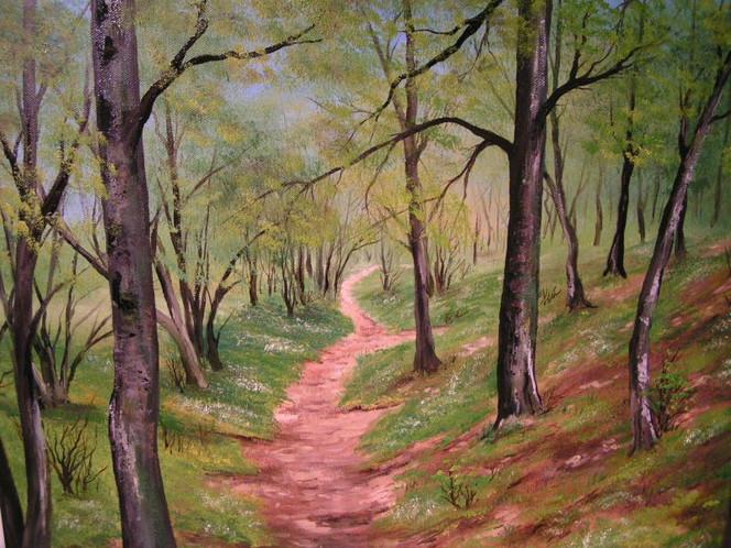 Wald, Frühling, Waldweg, Malerei,