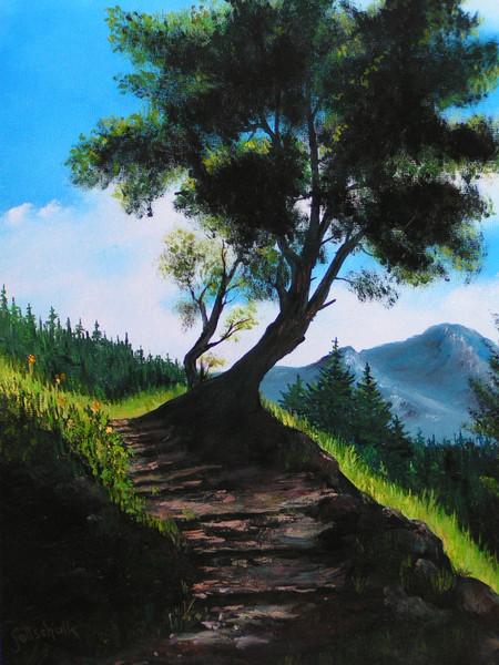 Waldweg, Licht, Schatten, Berge, Malerei,