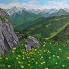 Wiese, Tal, Alpen, Felsen