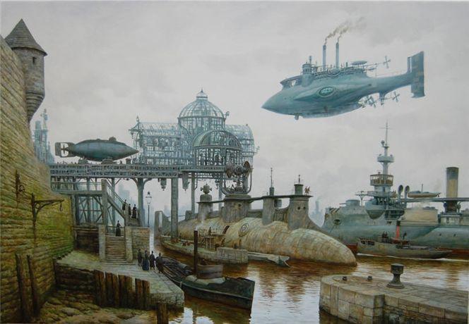 Dampfschiff, Viktorianisches, Hafen, Steampunk, Malerei, Schiff