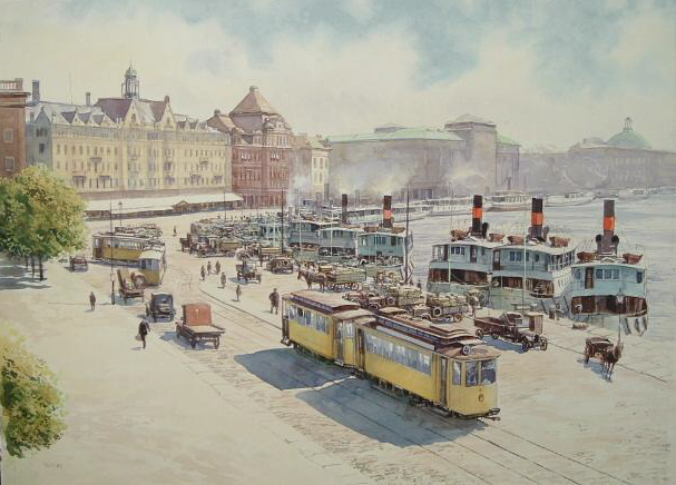 Landschaft, Straße, Stockholm, Dampfschiff, Malerei, Mittag