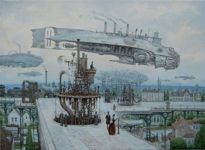 Luftschiff, Steampunk, Landschaft, Dampf, Viktorianisches, Dampfschiff
