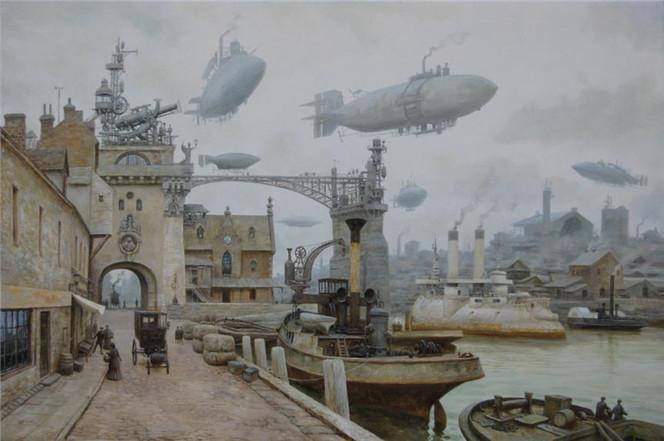 Steampunk, Dampfschiff, Dampf, Viktorianisches, Malerei, Tag
