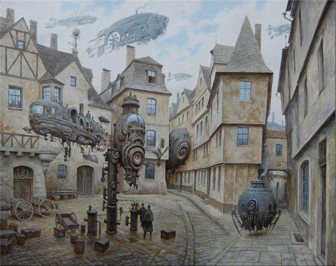 Dampf, Stadt, Landschaft, Steampubk, Malerei, Architektur