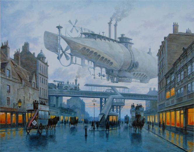 Viktorianisches, Luftschiff, Straße, Dampf, London, Steampunk