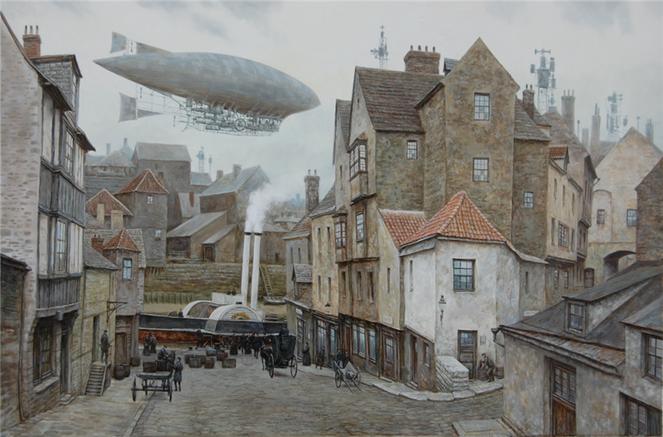 Viktorianisches, Steampubk, Dampf, Stadt, Dampfschiff, Luftschiff