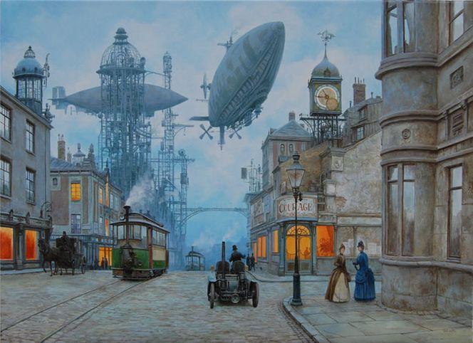 Straße, Dampf, Steampunk, Landschaft, Luftschiff, Viktorianisches