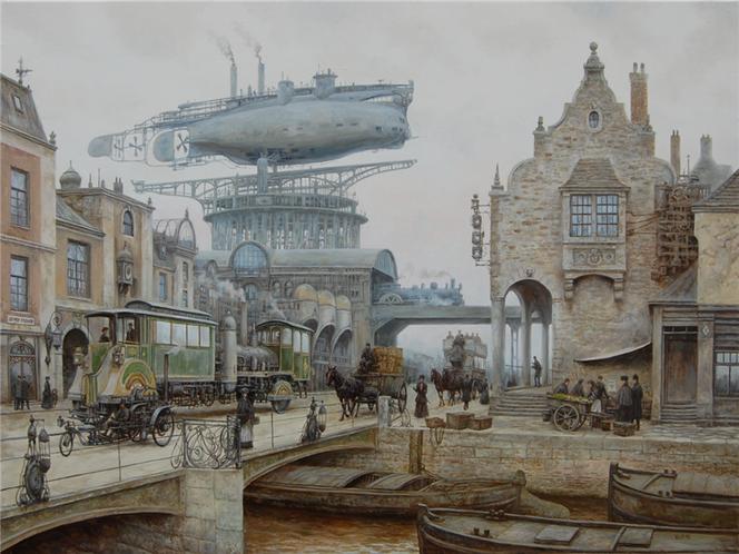 Luftschiff, Stadt, Steampunk, Dampf, Malerei, Zeit