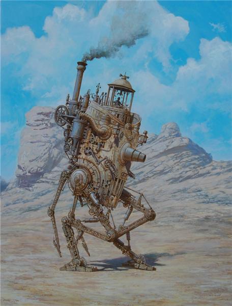 Steampunk, Dampf, Malerei, Surreal