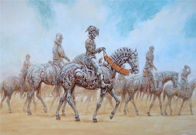 Reiter, Stahlreiter, Malerei, Surreal