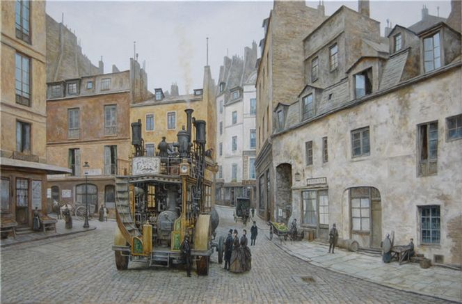 Straße, Steampunk, Paris, Viktorianisches, Malerei