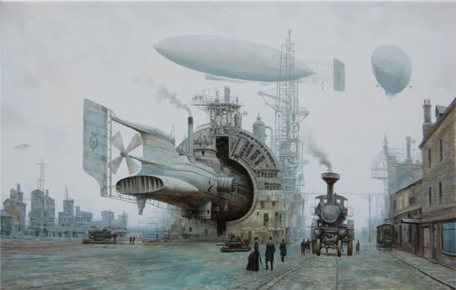 Steampunk, Malerei, Ankunft