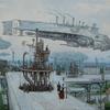 Dampf, Viktorianisches, Dampfschiff, Luftschiff