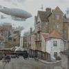 Stadt, Dampfschiff, Luftschiff, Viktorianisches