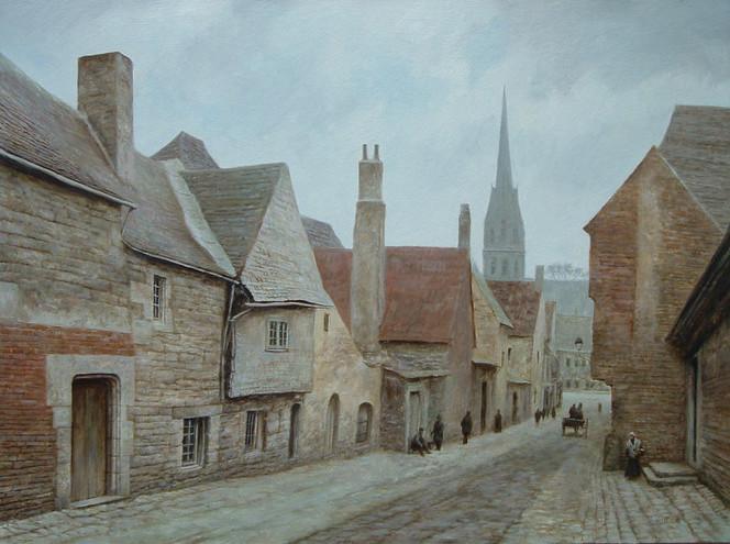 Quimper, Straße, Landschaft, Malerei