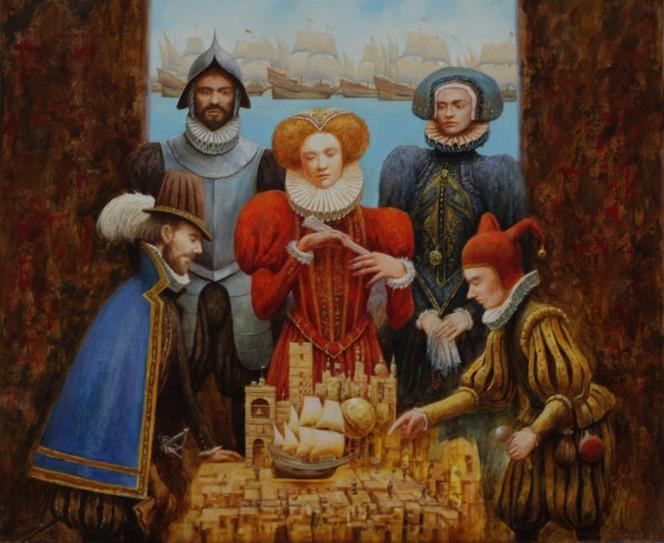 Narr, Ölmalerei, Strategie, Königin, Malerei, Figural