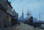 Hafen, Nacht, Schiff, Ölmalerei