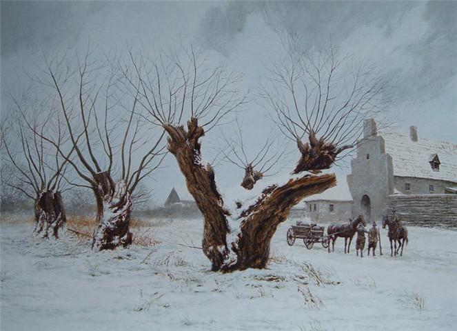 Schnee, Wächter, Baum, Winter, Malerei