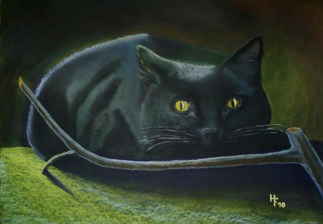 Katze, Schwarz, Zweig, Malerei