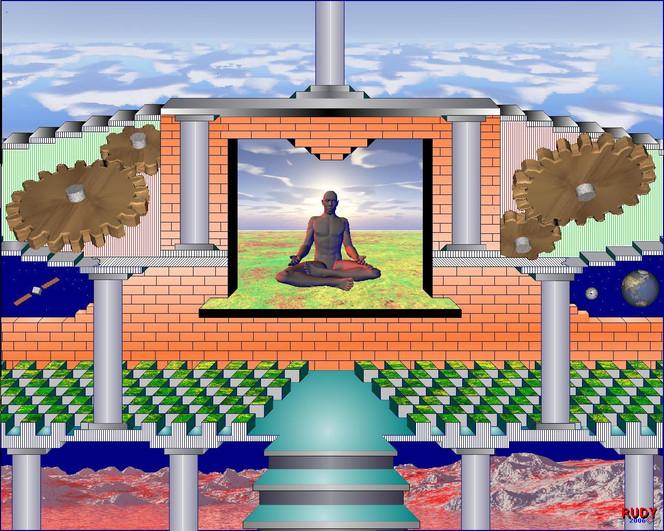 Buddha, Säule, Zahnrad, Digitale kunst, Surreal